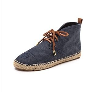 TORY BURCH Demium lace Up Espadrilles w/ Leather